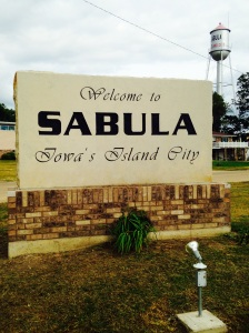 A common Iowa welcome sign with the common Iowa watertower. But this is not a typical Iowa town. This is Sabula!