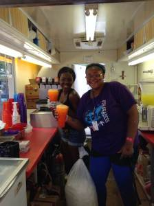 At this point of the day it was getting hot. These two ladies were singing and dancing and we knew we found our spot. 3 huge orange floats, please. Keep up the great work and see you next August, ladies! At the Iowa State Fair in Des Moines, IA.