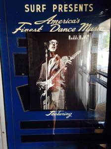 Original Buddy Holly poster greets everyone as they pass the ticket booth and walk through the front door of the Surf Ballroom in Clear Lake, IA.