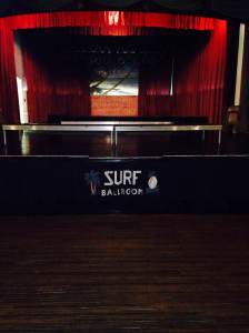 The historic stage that has hosted classic performances for decades! Music from the 50's era is pumped through the whole building. You can dance on the original hardwood floor and walk up on stage and stand where legends have stood. At the Surf Ballroom in Clear Lake, IA.