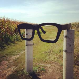 The likeness of Buddy Holly's iconic glasses marks the trailhead between two cornfields that leads you to the crash site and memorial. Near Clear Lake, IA.