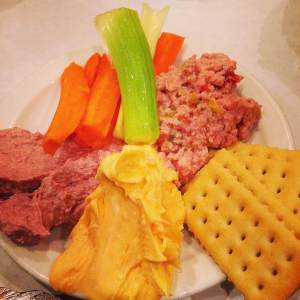 The holy trinity of northeast Iowa salad and appetizers. Braunschweiger sausage, sharp cheddar cheese dip and ham salad! Breitbach's has this staple covered.