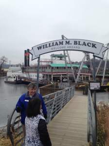 Dee welcoming us aboard of the prized William M. Black.