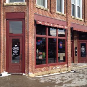 Scorz Bar and Grill. Right on Main Street.  109 1st Street NW Mount Vernon, IA.