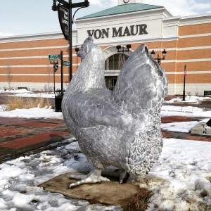 The famous chicken outside Von Maur. http://www.vonmaur.com/StorePage.aspx?ID=35