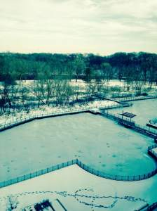 The view of the snowy river walk from our top floor room at the Coralville Marriott.