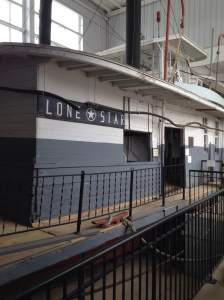Housed in the outer shelter, connected to the museum, is the Lone Star Steamboat.