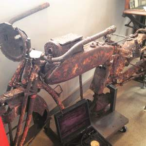 Our favorite relic at Antique Archaeolgy-LeClaire. An old rusty Indian motorcycle. The back story of its discovery is amazing. But you'll need to visit and read about it. The message is attached to its handlebar. I think Frank and Mike are still recovering from it. https://twitter.com/americanpickers