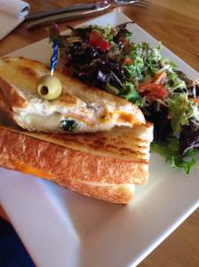 Grilled cheese with jam. You heard me right! Emily and Monie ordered to same meal and out came a duo of the best grilled cheese sandwich we've ever had. The house made jam was an amazing addition to this classic. Worth the drive to Grinnell from any direction! https://twitter.com/PrairieCanary1