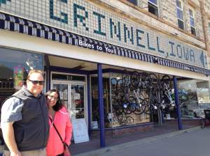 Emily takes advantage of getting a photo op of Monie and JayJay in front Bikes To You in downtown Grinnell, IA. http://bikestoyou.com/
