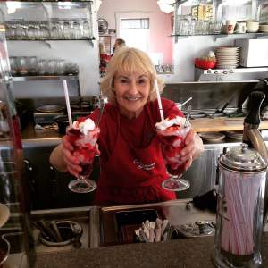 Roberta served up some delicious old fashion strawberry sodas. One of the many reasons to make the trip to Grinnell, IA. I nearly chipped the glass trying to eat it all. I'm not ashamed either. https://www.facebook.com/CandylandStation