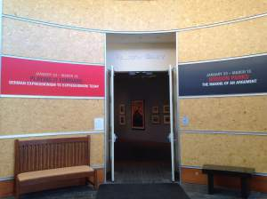 The entrance to the gallery at the Bucksbaum Center on campus of Grinnell College. http://www.grinnell.edu/