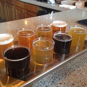 A clearly labeled flight of beers for our tasting pleasure at Front Street Brewery in Davenport, IA. https://www.facebook.com/frontstreetbrew?fref=ts