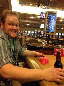 Walk in, order a stout, place chips on the number 5 at the roulette table, watch the little white ball land on 5, cash out, finish beer and hit downtown Davenport. It's that easy, folks! https://www.facebook.com/RhythmCityCasino?fref=ts