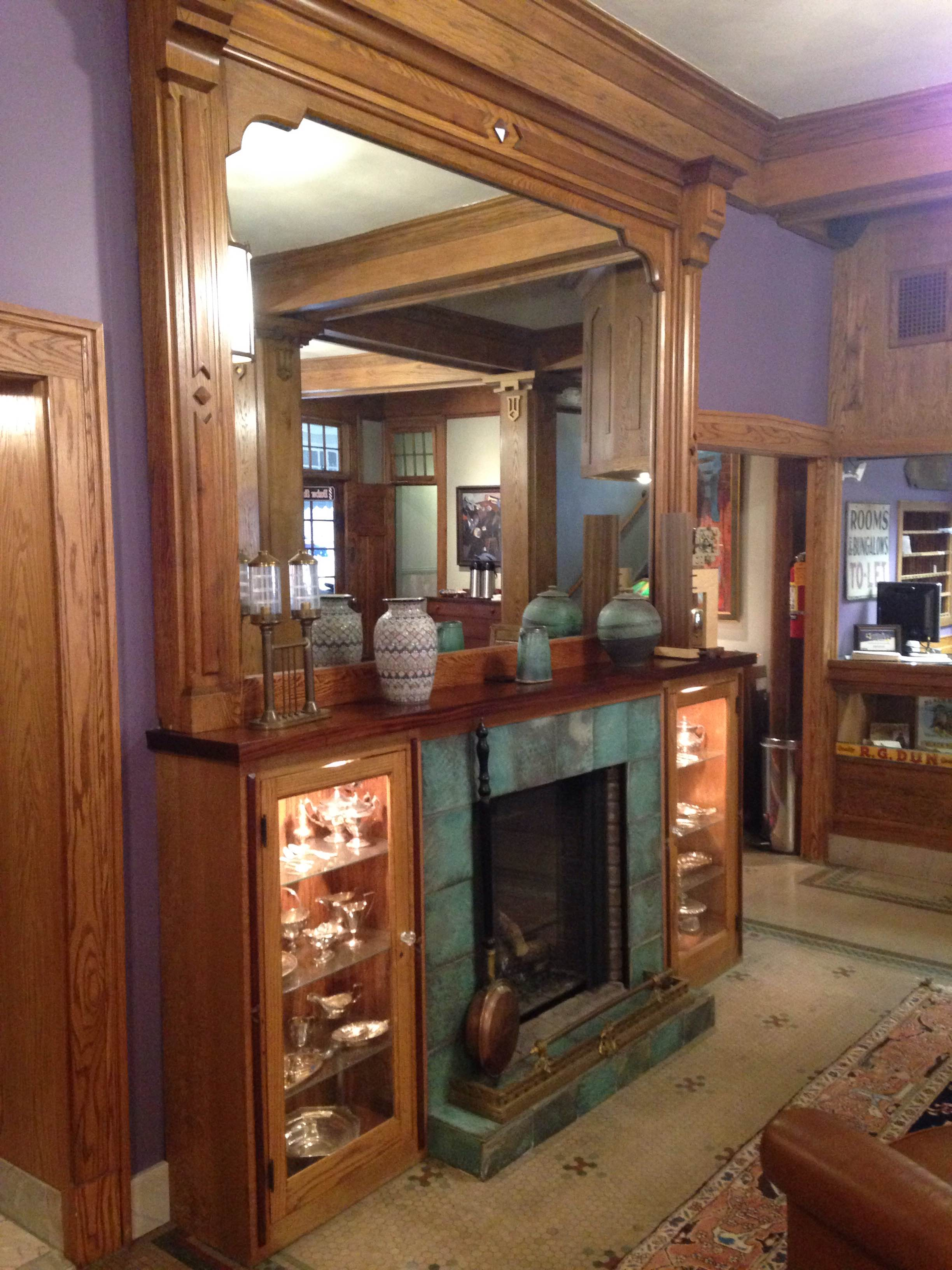 the fireplace in the front parlor of the black hawk hotel https - Medium Hardwood Hotel 2015