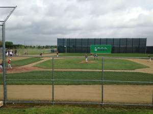 Rogers Sport Complex has several fields including their Mini-Majors. Baseball diamonds replicating classic MLB stadiums. Pictured is their version of Fenway Park with the green monster in left. You can also stop by Yankee Stadium, Wrigley Field and Dodger Stadium. That's right. Two Dodger Stadium's in one town. Take that LA!