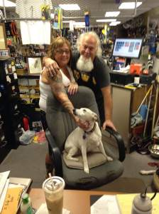 Meet Mom, Dad and CEO of The Bike Shop. Dawn, Gene and Maggie on the commander's chair.  https://twitter.com/bikeshopfd