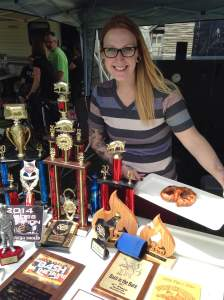 Ali and all the proud trophies that her team has collected through various BBQ smoke-offs.