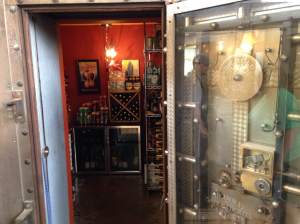 Safe turned into a storage room for the wine and spirits. Having all of these with me would help with my claustrophobia.
