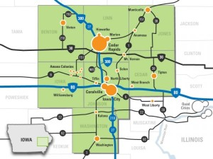 A map of Iowa's Creative Corridor. Team Goodvin tackles northern Johnson County.  http://creativecorridor.co/
