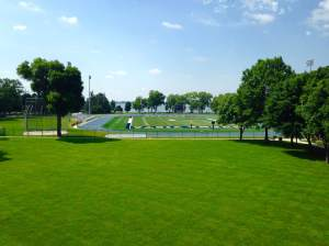Just down from the tree Museum is the beautiful campus of Buena Vista University and what will be home to hundreds of RAGBRAI campers. pictured is one of the most beautiful landscapes in all of college football on any level.  J. Leslie Rollins Stadium.