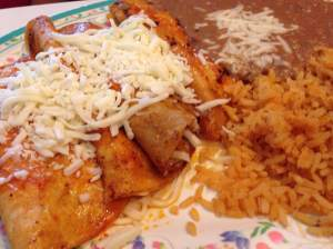 Charlie opted for the cheese enchiladas and they were outstanding! He also cleaned up everybody's rice and beans. La Juanita's in Storm Lake, IA.