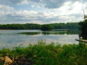 The morning stillness of Pine Lake.
