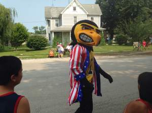 Herky made an appearance to Hills and shed a few pounds walking the route with the Iowa Cheer Squad. Rough gig I assume.