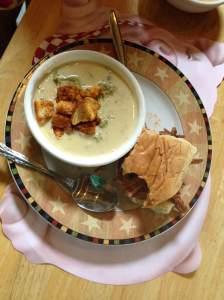 One of the classics made fresh and perfect. Homemade cream of broccoli soup with homemade croutons. Capping off the beauty is their own BBQ pulled pork sandwich. Jennifer moved to Chicago and realized she knew how to Iowa it up better then anything. A few years ago she moved back to Hiawatha and the passion can be seen all over the property and tasted in her food.