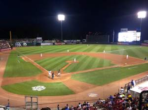 Veterans Memorial Stadium in the 7th inning of the Jon Jon promotional night.