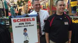 Jon and his Scheels teammate Steve Wilhelm at the surprise unveiling of the Jon Jon bobble head that would be making its debut in Cedar Rapids.
