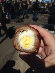 Just one of the many snacks found during Oktoberfest. The Scotch Egg. Sausage wrapped around a boiled egg and deep fried. Beer food at its finest.