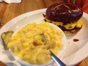 What this plate could use is a little more cheese, perhaps. Say hello to the Pretzel Baconcheeseburger. I think it's a family name. It's partner is a big ole bowl of mac and cheese. That was a good time!