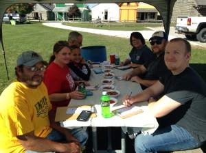 Some of the most important people in America on this day. At least I thought so. Me and my fellow judges awaiting samples from the hard working contestants. https://www.facebook.com/Fort-Dodge-Chili-Lovers-Society-115180271862673/timeline/