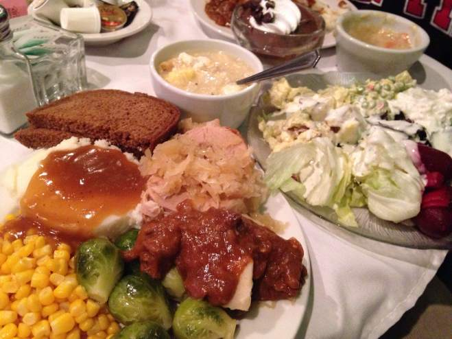 How about a dose of roast pork, Czech style goulash, potato dumplings, whipped potatoes with gravy, authentic zeli soup, sauerkraut, and fresh salads. Beets with cottage cheese......always.