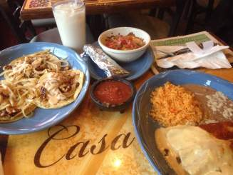 A cool glass of Horchata, Tacos, queso fundido, and enchiladas! Casa Azul in Coralville, IA