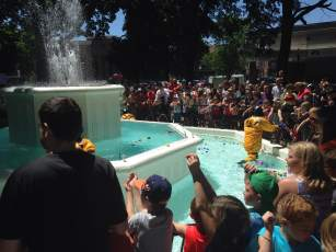 Only on Ridiculous Day can you take a dip into the town squares fountain. And you have to be a firefighter too!