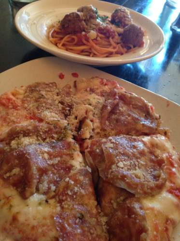 One of the lunch specials was their spaghetti and meatballs. We ordered a Pizza Margherita and added some thin sliced salami to the order. This was a treat!