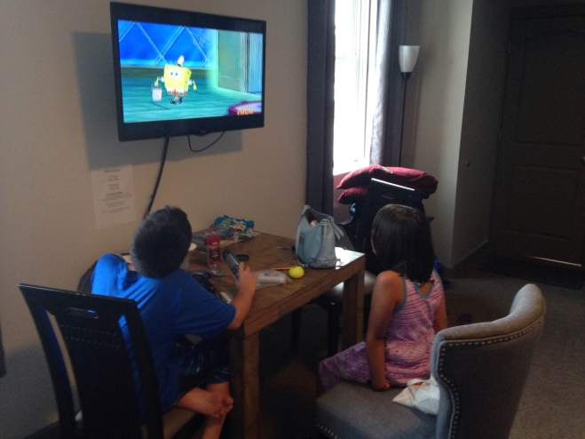 All the amenities you'll need in a suite. Including a flat screen TV that picks up Sponge Bob just fine.