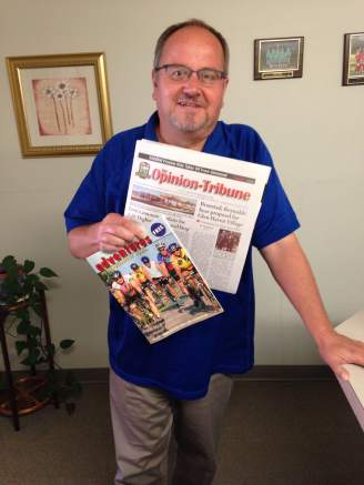 The editor of the Opinion-Tribune, Joe Foreman. He knows just how to cover RAGBRAI and help the riders enjoy Glenwood.