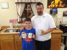 Two of the cheesiest folks at Milton Creamery. They're giving out free Milton Creamery mugs while supplies last!