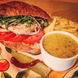 The Grilled Swordfish Ciabatta Sandwich with Cedar Valley Chardonel Swiss Cheese Dip. That's good times.