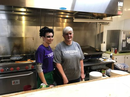 Owner/Cook with the trusty server at the Corner Post in Northwood, Iowa