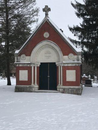 Family mausoleum in Aspen Grove Cemetery in Burlington, Iowa