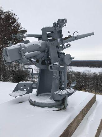 Anti aircraft gun on the Mississippi in Burlington, Iowa