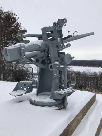 Anti aircraft gun on the Mississippi in Burlington, Iowa
