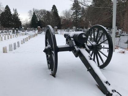 Civil War cannon at Aspen Grove Cemetery in Burlington, Iowa