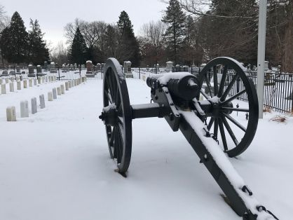 Civil War cannon at Aspen Grove Cemetery in Burlington, Iowa