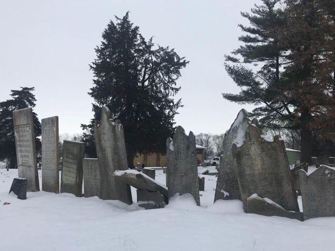Old headstones in Aspen Grove Cemetery in Burlington, Iowa