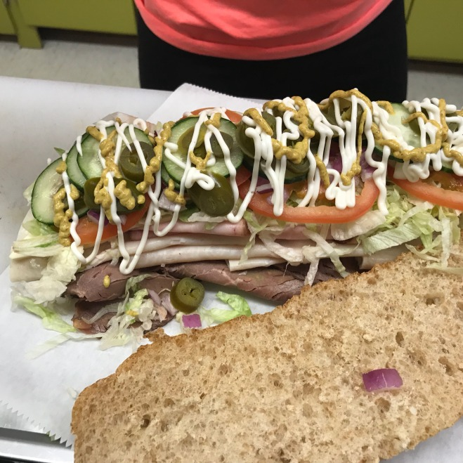 Huge sub sandwich in Manchester, Iowa